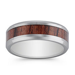 Polished Cobalt Ring with Wood Inlay (8mm)