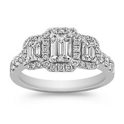 Emerald Cut and Round Diamond Halo Three Stone Ring