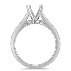 Round Diamond Cathedral Engagement Ring
