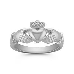 14k White Gold Classic Claddagh Ring for Men