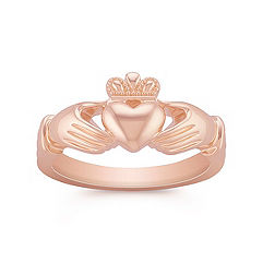 14k Rose Gold Claddagh Ring for Men