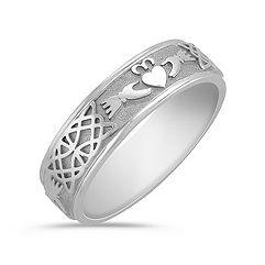 14k White Gold Claddagh Ring for Men