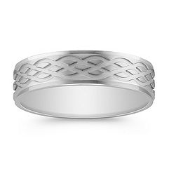 Engraved Men's Band in 14k White Gold (6mm)