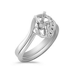 Half Heart Swirl Diamond Wedding Set with Pavé Setting