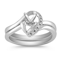 Half Heart Swirl Diamond Wedding Set with Pave Setting in White Gold