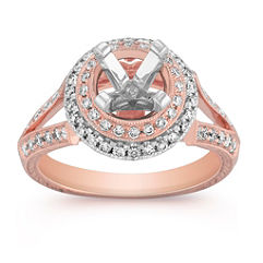 Halo Diamond Engagement Ring in Two-Tone Gold