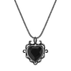Heart-Shaped Black Sapphire and Round Diamond Pendant with Black Rhodium (18 in.)