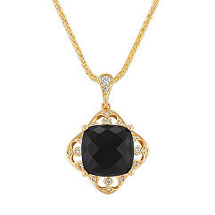 Cushion Cut Black Sapphire and Round Diamond Pendant (18 in.)