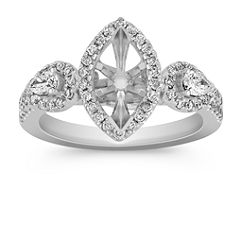 Halo Vintage Diamond Engagement Ring with Pave Setting