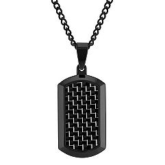 Stainless Steel and Black Carbon Fiber Dog Tag Necklace (24 in.)