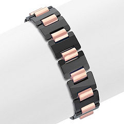 Tungsten Bracelet with Rose and Black Ionic Plating (8.5 in.)