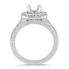 Halo Vintage Diamond Enagement Ring in Platinum with Pavé Setting