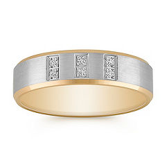 Diamond Two-Tone Gold Ring with Satin Finish (6mm)