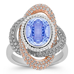 Oval Ice Blue Sapphire and Diamond Ring in Two-Tone Gold