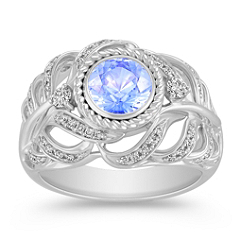 Ice Blue Sapphire and Diamond Ring