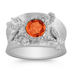 Rose Cut Round Orange Sapphire and Diamond Ring