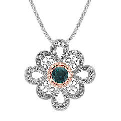 Round Blue Green Sapphire and Diamond Pendant in Two-Tone Gold (22 in.)