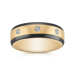 Princess Cut Ring with Black Ruthenium in 14k Yellow Gold (7mm)