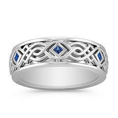 Princess Cut Sapphire Tribal Engraved Men's Ring (8mm)