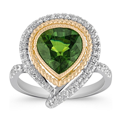 Pear Shaped Green Sapphire and Diamond Ring in Two-Tone Gold