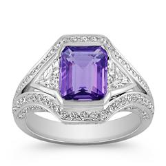 Emerald Cut Lavender Sapphire, Trillion and Round Diamond Ring