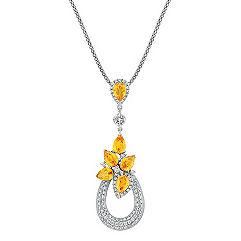 Pear Shaped Orange Sapphire, Calla Cut and Round Diamond Pendant (22 in.)