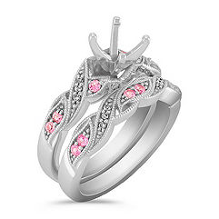 Swirl Vintage Pink Sapphire and Diamond Wedding Set