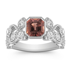 Cushion Cut Cognac Sapphire, Calla Cut and Round Diamond Ring