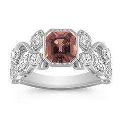 Cushion Cut Congnac Sapphire, Calla Cut and Round Diamond Ring