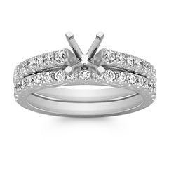 Vintage Diamond Wedding Set with Pave Setting