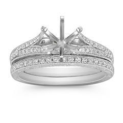 Vintage Cathedral Diamond Wedding Set in Platinum with Pavé Setting