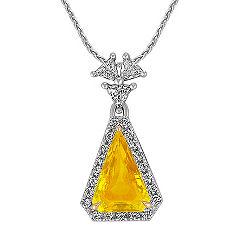 Trillion Yellow Sapphire and Trillion Diamond and Round Diamond Pendant (18 in.)