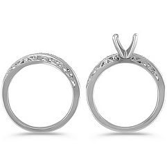 Vintage Diamond Curved Wedding Set with Pavé-Setting
