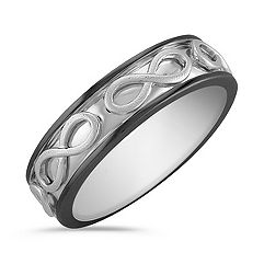 14k White Gold Engraved Infinity Ring with Black Ruthenium