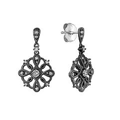 Diamond Earrings with Black Ruthenium