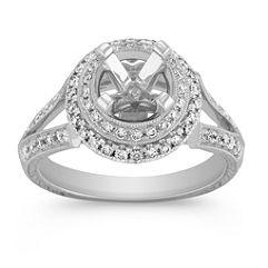 Halo Vintage Diamond Engagement Ring in Platinum