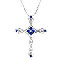 Round Sapphire, Princess Cut and Round Diamond Cross Pendant (18)