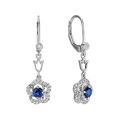 Sapphire and Diamond Floral Dangle Earrings