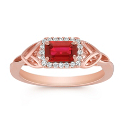 Emerald Cut Ruby and Diamond Ring in Rose Gold