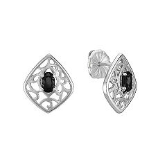 Oval Black Sapphire and Sterling Silver Earrings