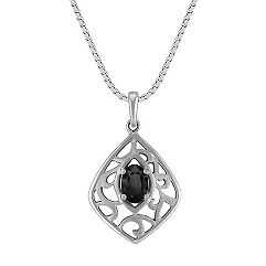 Oval Black Sapphire and Sterling Silver Pendant (18 in.)