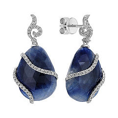 Cabochon Sapphire and Diamond Earrings