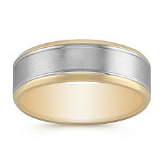 14k White and Yellow Gold Comfort Fit Ring with Satin Finish (7mm)