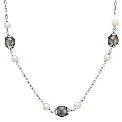 10mm Cultured Tahitian Pearl and 6mm Cultured Freshwater Pearl Necklace in Sterling Silver (18)
