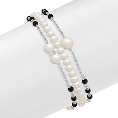 3.5-6mm Cultured Freshwater Pearl and Black Agate Bracelet in Sterling Silver (7.5 in.)