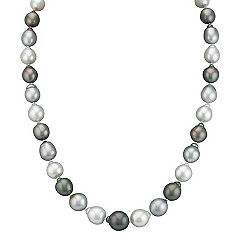 9-12mm Cultured Tahitian and South Sea Pearl Necklace in Sterling Silver (23 in.)