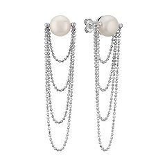 9mm Cultured Freshwater Pearl Dangle Earrings in Sterling Silver
