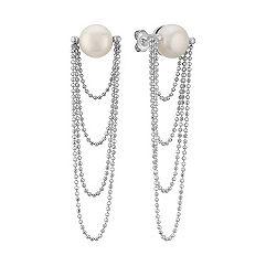 9mm Cultured Freshwater Pearl Dangle Earrings in Sterling Silver