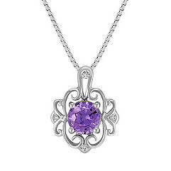 Vintage Lavender Sapphire and Diamond Pendant (18 in.)