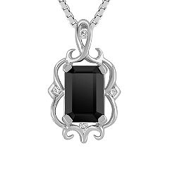 Emerald Cut Black Sapphire and Diamond Pendant (18 in.)